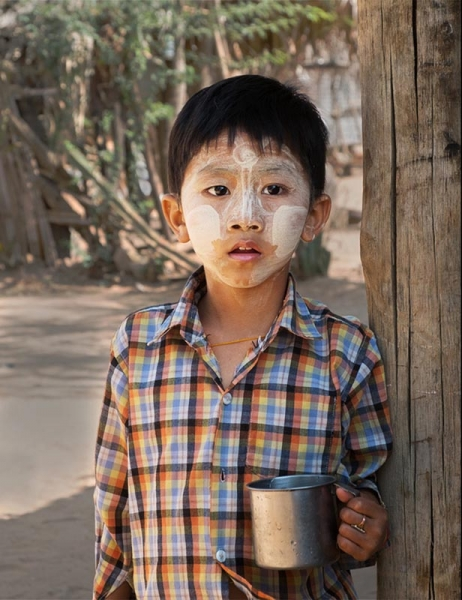 Boy with cup, Myanmar