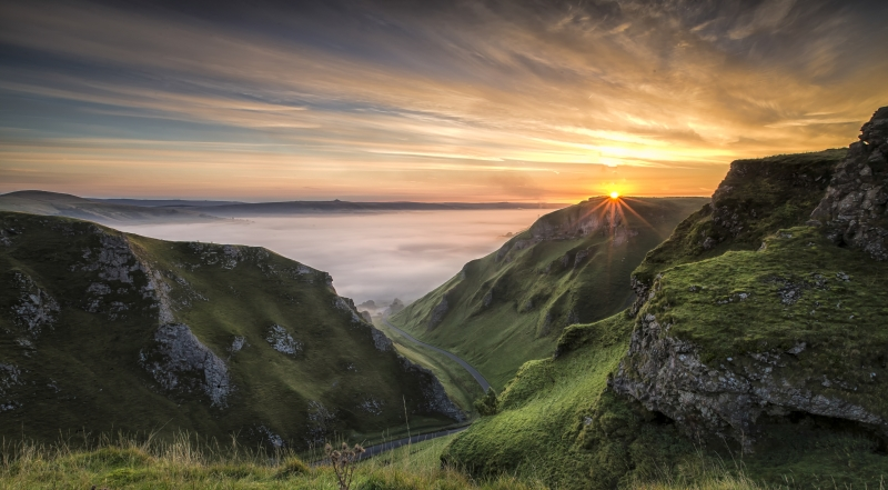 Misty Sunrise at Winnats Pass
