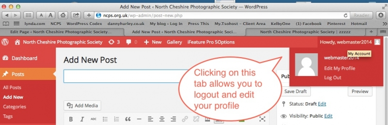 Log out and Edit Profile tab